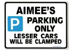 AIMEE'S Personalised Parking Sign Gift | Unique Car Present for Her |  Size Large - Metal faced